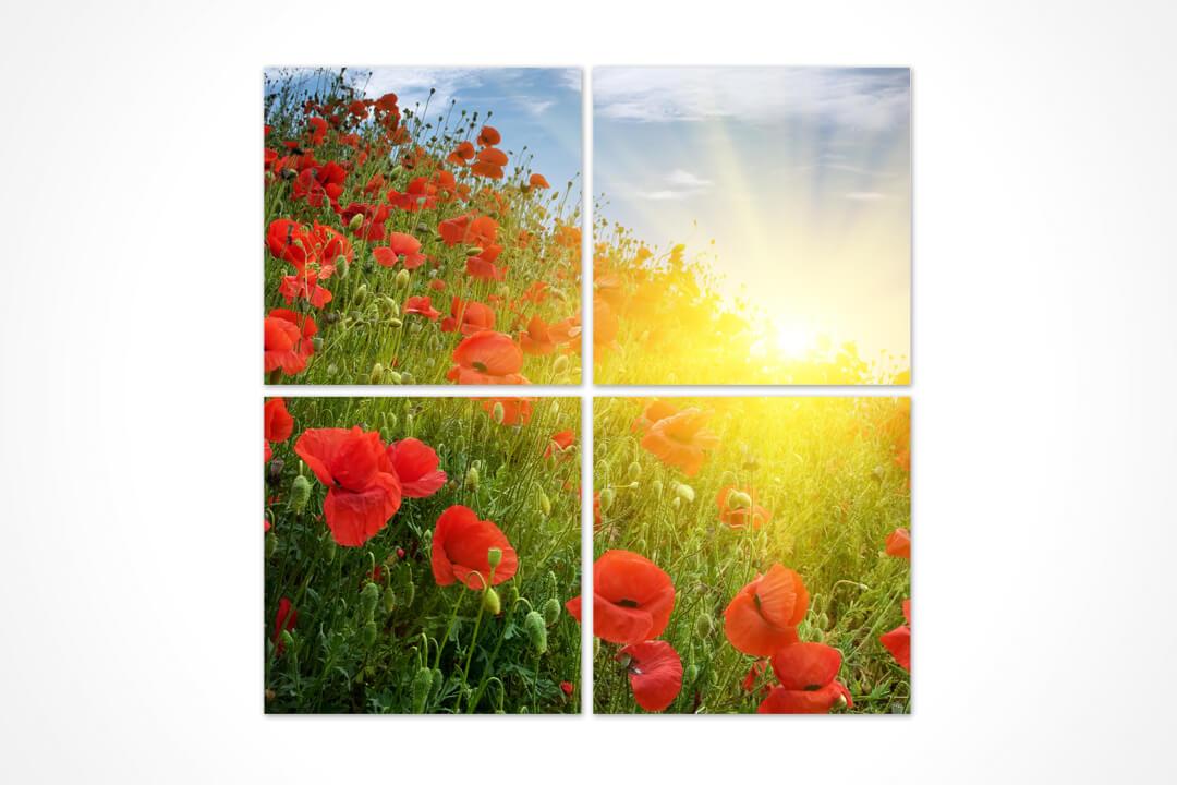 4 Parça Kare - Çiçekler 02